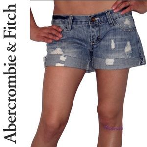 NWT ABERCROMBIE & FITCH destroyed jean shorts 2!